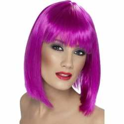 Neon paarse damespruik pony