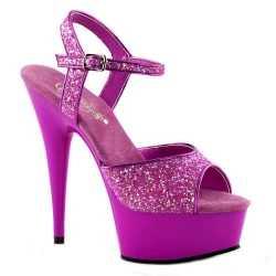 Neon paarse glitter sandalen Caydence