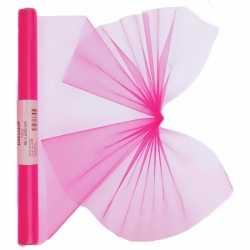 Neon roze organza stof op rol 40 bij 200