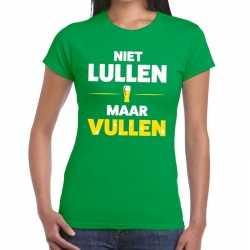 Niet lullen maar vullen tekst t shirt groen dames