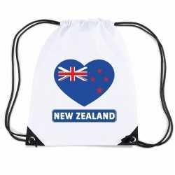 Nieuw zeeland hart vlag nylon rugzak wit