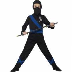 Ninja kostuum zwart/blauw kinderen