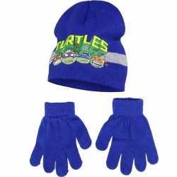Ninja turtles blauwe winterset 2 delig jongens