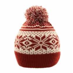Nordic print winter muts rood/wit pompon kinderen