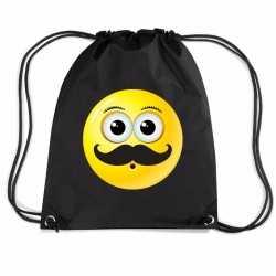 Nylon emoticon smile snor rugzak zwart rijgkoord