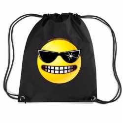 Nylon emoticon smile stoer rugzak zwart rijgkoord