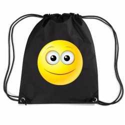 Nylon emoticon smile vrolijk rugzak zwart rijgkoord