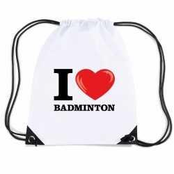 Nylon i love badminton rugzak wit rijgkoord