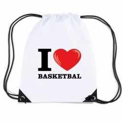 Nylon i love basketbal rugzak wit rijgkoord