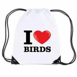 Nylon i love birds/ vogels rugzak wit rijgkoord