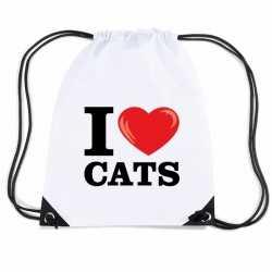 Nylon i love cats/ katten/ poezen rugzak wit rijgkoord