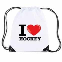 Nylon i love hockey rugzak wit rijgkoord