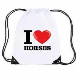 Nylon i love horses/ paarden rugzak wit rijgkoord