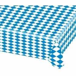 Oktoberfest 15x beieren/oktoberfest tafelkleden blauw wit 80 bij 260