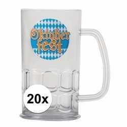 Oktoberfest 20x bierfeest bierpullen kunststof van 500 ml