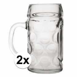Oktoberfest 2x voordelige bierpullen/bierglazen 1 liter