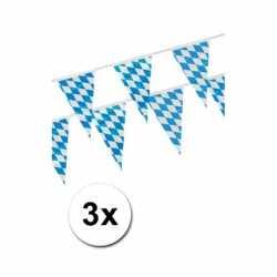 Oktoberfest 3x Beieren vlaggenlijn blauw/wit 4 m