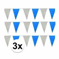Oktoberfest 3x vlaggenlijnen lichtblauw wit
