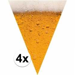 Oktoberfest 4x stuks bier/pils them print vlaggenlijnen/slingers van