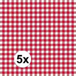 Oktoberfest 5x pakjes oktoberfest servetten geruit rood/wit 3 laags 2