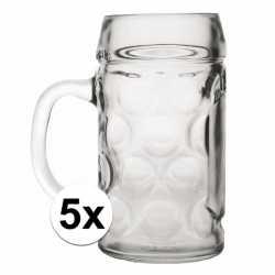 Oktoberfest 5x voordelige bierpullen/bierglazen 1 liter