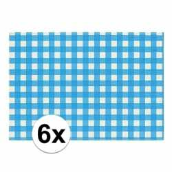 Oktoberfest 6x placemats blauw/wit geblokt 43 bij 30