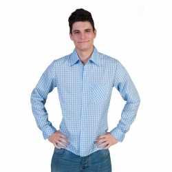 Oktoberfest Blauwe geruite blouse heren