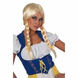 Oktoberfest Blonde damespruik lange vlecht