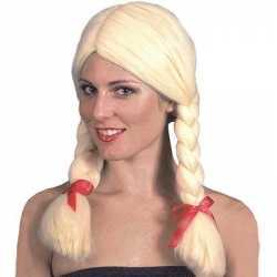 Oktoberfest Blonde damespruik vlechten