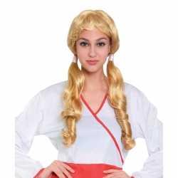 Oktoberfest blonde pruik staartjes dames