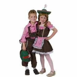 Oktoberfest Geruit overhemd kinderen roze