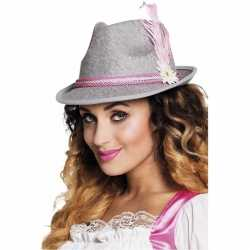 Oktoberfest grijs roze tiroler hoedje dames