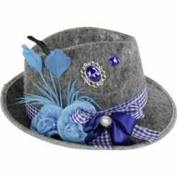 Oktoberfest Grijze Tiroler hoed blauwe veer