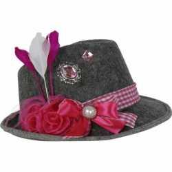 Oktoberfest Grijze Tiroler hoed roze veer