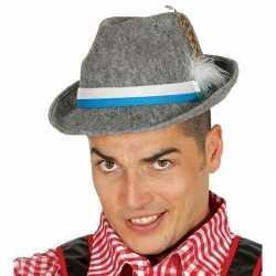 Oktoberfest grijze tiroler hoed veer volwassenen