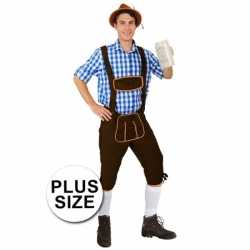 Oktoberfest grote maten lange lederhose andreas donkerbruin heren
