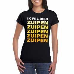 Oktoberfest ik wil bier zuipen tekst t shirt zwart dames