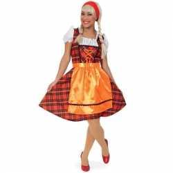 Oktoberfest Schots geruit dirndl jurkje rood