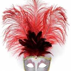 Oog masker rode veren