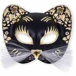 Oogmasker zwarte kat goud