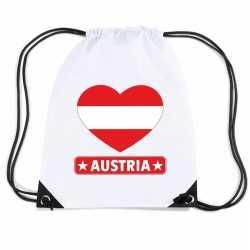 Oostenrijk hart vlag nylon rugzak wit