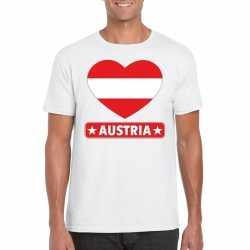 Oostenrijk hart vlag t shirt wit heren