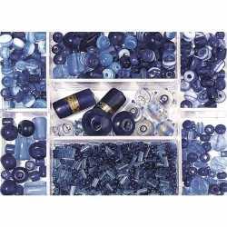 Opbergdoos donkerblauwe glaskralen 115 gram