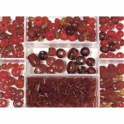 Opbergdoos donkerrode glaskralen 115 gram