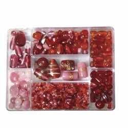 Opbergdoos lichtrode glaskralen 115 gram
