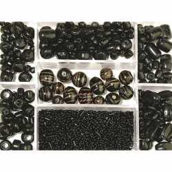 Opbergdoos zwarte glaskralen 115 gram