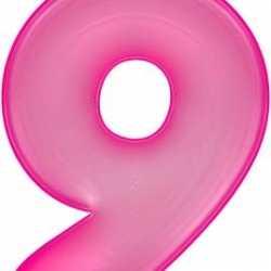 Opblaas cijfer 9 roze