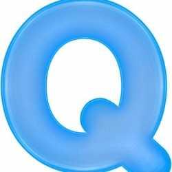 Opblaas letter Q blauw