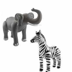 Opblaasbare dierenset olifant zebra