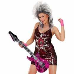 Opblaasbare gitaar roze zebra 105